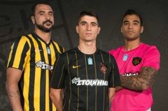 AEK Athens 2016/17 Nike Home, Away and Third Kits Football Fashion, Home And Away, Athens, Black Stripes, Third, Champion, Nike, Mens Tops, Athens Greece
