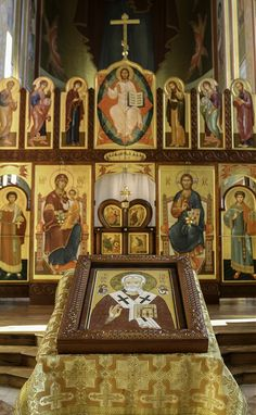 Saint Nicholas in his Cathedral This photo was taken in St Nicholas' Orthodox Cathedral in Washington DC on his feast day. The icon of the feast is placed in the centre of the church in front of the iconostasis. | by Lawrence OP