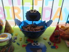 DIY cookie bowl for Sesame Street theme party. $3.00 bowl from Party City and cardstock cut-outs