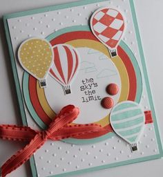 Here are the details for this card:        Pool Party - 5 1/2 x 8 1/2 scored at 4 1/4, 4 inch circle      Calypso Coral - 3 1/2 inch circle      So Saffron - 3 inch circle      Whisper White - 2 1/2 inch circle, 4 x 5 1/4, scraps for the balloons      Other - Calypso Coral Ribbon, In Colour Brads (YUMMY!)      Stamps - Up, Up and Away