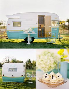 A retro cupcake trailer? Ah, a girl can dream. This article also has photos of an airstream trailer bar and snow cone truck. Old Campers, Retro Campers, Happy Campers, Vintage Campers, Retro Caravan, Vintage Airstream, Vintage Caravans, Vintage Travel Trailers, Retro Trailers