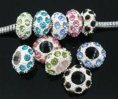 LOT DE 8 PERLES PALETS METALLISEES STRASS COULEURS MIXTES : Perles en Métal par breloques-et-bijoux