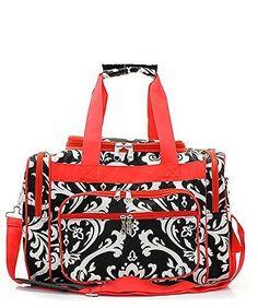 "24.99$  Buy here - http://vikuc.justgood.pw/vig/item.php?t=yr3mmdk55717 - Handbag Inc Small Canvas Lightweight Damask Print 17"" Duffel Bag Red"