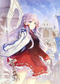 Cute anime girl with red dress :3