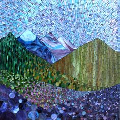 "Mountain Spring, stained glass mosaic on 36"" x 36"", 2012 by Kasia Polkowska, Boulder, Colorado"