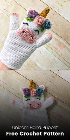 Unicorn Hand Puppet Free Crochet Pattern #crochet #crafts #homemade #handmade