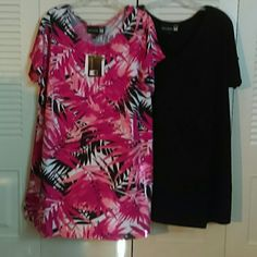 "NWT - ANTHONY - BUNDLED TOPS SPANDEX !!! Two blouses, one scoop neck of pink, orange,black and white, one V neck solid black.  Soft, comfortable, and stretchy.  Built-in sleeves, vent at hem.  Perfect wardrobe additions.  95% polyester/5% spandex - Size stated XL - Fits like XXL, maybe XXXL BEWARE - SIZE IS MIS-LABLED. COMPARE FLAT MEASUREMENTS: Patterned blouse:     Black blouse same : Shoulder: 20"" Bust: 23"" Hips: 24"" Hem: 26"" Length : 31""  Black blouse: 30"" Anthony Tops Blouses"