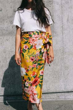 ce20ccb610b8 Never Fully Dressed Jaspre wrap midi skirt yellow floral print PIPE AND ROW  www.pipeandrow