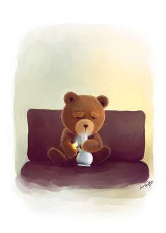 'Smoking Ted' by Viviane Fujita on artflakes.com as poster or art print