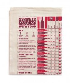 A guide to pairing red wine with food tea towel, culturelabel, £10.00=11,71€ (Available in white wine version too)