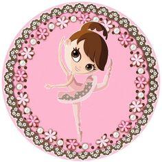 Bailarinas Marrom e Rosa - Kit Completo com molduras para convites, rótulos para…