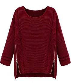 Wine Red Long Sleeve Side Zipper Cable Knit Sweater Mobile Site