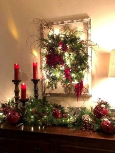Easy DIY Christmas Decor ideas for your table mantle and wall using garland and candles. Elegant rustic farmhouse Christmas budget decor ideas for the home party or wedding. Green Christmas, Outdoor Christmas, Rustic Christmas, Simple Christmas, Christmas Budget, Christmas 2019, Christmas Vacation, Christmas Colors, Christmas Island
