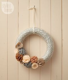 Add this festive winter wreath to your holiday decor.