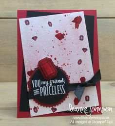 Priceless Ruby.| Stampin\' Up! | You\'re Priceless #literallymyjoy #preciousstone #preciousgem #ruby #BrushoCrystalsColour #BloggingFriendsBlogHop #gems #2018OccasionsCatalog #20172018AnnualCatalog