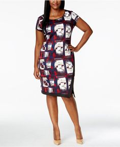 Love Squared Plus Size Short-Sleeve Printed A-Line Dress