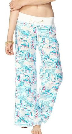 Lilly Pulitzer Linen Beach Pant in Watch Out