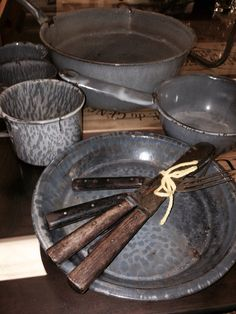 Antique Large Set of Gray Graniteware, Pans, Plate, Cups, Folks and Knifes $120.00