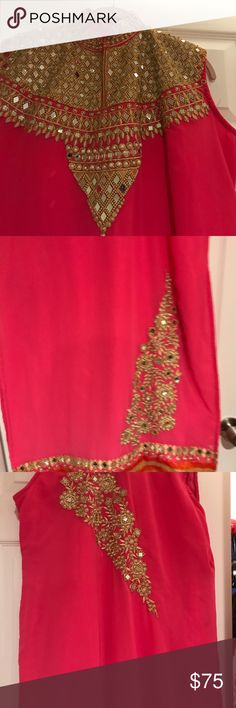 Shalwar Kameez and dupatta set Hot pink with mirror work embroidered gold pattern Other Red And Pink, Hot Pink, Mirror Work, Gold Pattern, Shalwar Kameez, Lady In Red, Things To Sell, Closet, Style