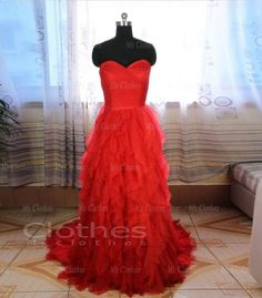 Custom Made Strapless A line Court Train Red Prom Dresses, Cheap Prom Dresses, Prom Dress 2014, Formal Dresses, Dress For Prom