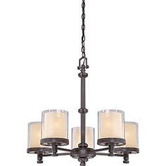 Shop for Decker Bronze with Clear/ Cream 5-light Chandelier. Get free shipping at Overstock.com - Your Online Home Decor Outlet Store! Get 5% in rewards with Club O!