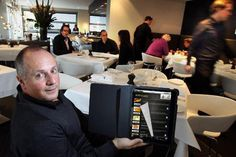Digital menus may help diners make more informed choices about restaurants' food and drink options. And they may boost restaurant profits, too: Sales have increased 23 percent since one Florida restaurant introduced tablet menus in September. Karaoke, Digital Menu, Kitchen Electronics, Food Service, Food And Drink, Cooking, Paper, Restaurants, Concept