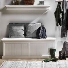The Halifax Storage Chest. This traditional, tongue and groove panelled storage chest was made for the foot of the bed. Entryway Furniture, White Furniture, Tongue And Groove Panelling, Country Style Furniture, Hygge Home, Nordic Home, Guest Bedrooms, Scandinavian Design