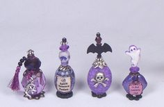 PURPLE Potions Witch Ghost Bats OOAK Dollhouse Miniature Goth 1:12 BY PASSION
