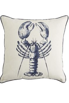 This Beaded Blue Lobster Pillow from Pier 1 has summer in Maine printed all over it. Set on a contrasting white background, our blue crustacean print features beaded detailing and navy piping, making it quite a catch for your sea of pillows.