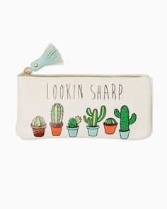 "Shop the Lookin Sharp Cactus Pouch today! An embossed cactus design with the witty ""Lookin Sharp"" message and tassel zipper. Backpack Purse, Coin Purse, Cactus Gifts, Pencil Pouch, Pencil Cases, Funny Illustration, Cute Little Things, Cute Bags, Up Girl"