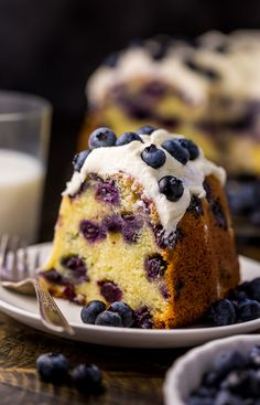 An easy and delicious recipe for The BEST Blueberry Bundt Cake! This cake is so moist, buttery, and bursting with juicy blueberries! It's perfect for brunch and pairs well with coffee or tea. desserts The Best Blueberry Bundt Cake - Baker by Nature Blueberry Bundt Cake Recipes, Pound Cake Recipes, Easy Cake Recipes, Dessert Recipes, Blueberry Pastry Recipe, Amaretto Pound Cake Recipe, Frozen Blueberry Recipes, Easy Blueberry Desserts, Blueberry Muffin Cake
