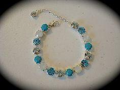 Turquoise Tennis Bracelet, Swarovski Light blue bracelet,  Bridesmaid bracelet, turquoise bracelet, not sabika, blue rhinestone bracelet by TheCrystalRose for $30.00