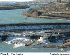 Great Falls, Montana - The Missouri River flowing through Rainbow Dam