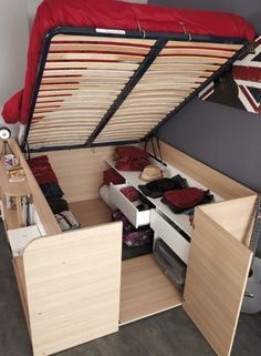 Parisot Space Up Bed and Storage, the Hidden Storage Bed. The hidden treasure of the Space Up bed is the hidden storage area underneath. Diy Storage Bed, Tiny House Storage, Bedroom Storage, Storage Hacks, Storage Solutions, Extra Storage, Hidden Storage, Storage Design, Beds With Storage