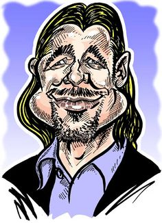 Caricature of Hollywood actor Brad Pitt by caricaturist in London Simon Ellinas as an example of what an on-the-spot caricature DOESN'T look like!