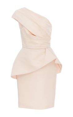 This **Monique Lhuillier** one shouldered dress is crafted from blush-hued silk faille with an asymmetric peplum, for a perfectly romantic cocktail piece.