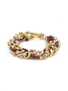 Silk, Crystal, & Chain Woven Bracelet