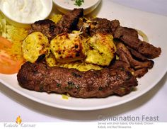 COMBINATION FEAST                           . Served with Shish Kabob, Kifta Kabob, Chicken Kabob and Beef Shawarma.