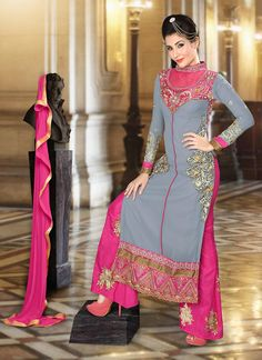 Grey Georgette Palazzo Suit
