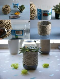 Upcycled Plastic Bottle Into A Rustic Rope Planter - acharmingproject.com -Maceta reciclando botella de plástico