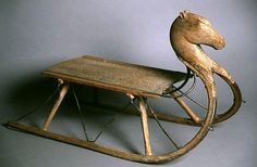 Folk art sled with carved horse's head. 19th C.