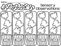 5 Senses - Popcorn Investigation FREEBIE by Sunny and Bright in Primary First Grade Science, Teaching Science, Kindergarten Activities, Teaching Tools, Teaching Resources, Kindergarten Registration, Easy Science, Classroom Activities, Preschool Ideas