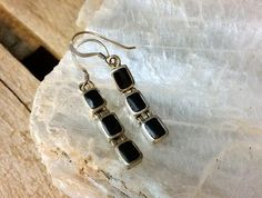 Sterling Black Onyx Earrings, Sterling Silver Earrings, Dangle Post Earrings, Vintage New Old Stock Deadstock Selling Jewelry, Vintage Jewellery, Black Onyx, Sterling Silver Earrings, Dangles, Buy And Sell, Personalized Items, Stuff To Buy, Things To Sell