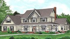 Country Farmhouse Elevation of Plan 96841