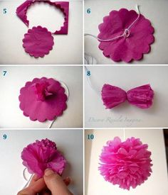Discover thousands of images about Tutorial DIY Pompones de Papel de seda by Ninomaru small pom pom tutorial using a scalloped punch - i think, it's in spanish! do it yourself tissue paper pomanders - Salvabrani To make these flowers first you must take t Flower Crafts, Diy Flowers, Fabric Flowers, Tissue Pom Poms, Tissue Paper Flowers, Papel Tissue, Diy And Crafts, Crafts For Kids, Paper Crafts