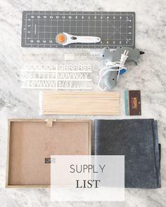 DIY Letterboard. LETTERBOARD-SUPPLY-LIST.