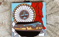 Native American Art Tile~Earthtones Tile 1990 Southwestern  Art Tile Trivet~Kiln Fired Pottery~Wall Art~Wall Hanging~by JewelsandMetals. by JewelsandMetals on Etsy