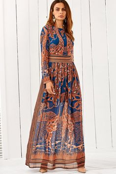 c50f0dc42ad Scoop Long Sleeves Print Long Bohemia Dress. Bohemia DressDress  OutfitsFashion OutfitsWomens FashionFashion SaleDress ...