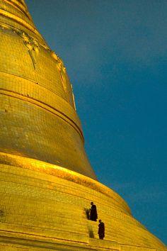 Monks at Sunset Temple Climb - Shwedagon Pagoda - Yangon, Myanmar