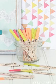 "The Boredom Buster Jar is a great summertime project.  Have fun choosing activities you can do when the kids complain they're ""bored"" and write one on each popsicle stick. Simply pick a stick whenever you need some summer fun."
